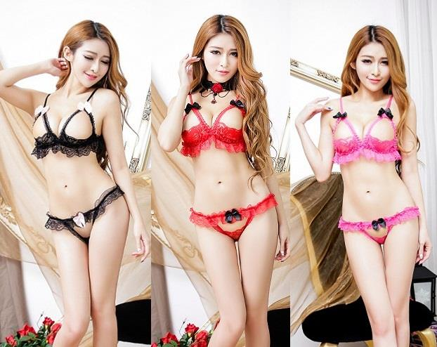 LM2296 Sexy Open Breast Bra Set + Crotch-less G-string (3 Colors)