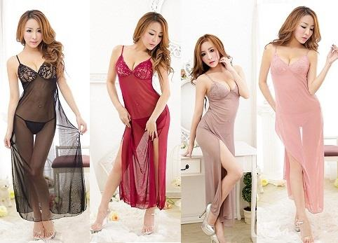 LM5098 Black/Pink/Brown/Red Wine Sexy Lingerie Long Gown (4 Colors)