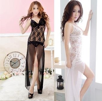 LM6637 Black / White Sexy Lingerie Long Dress Nightwear Babydoll