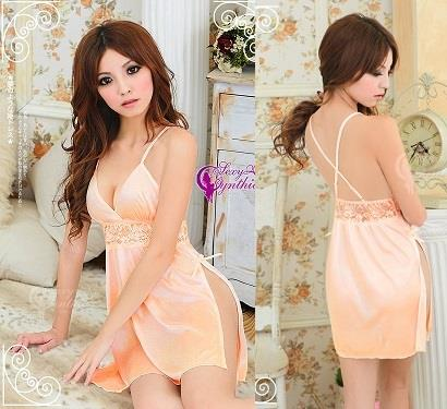 LM7064 Peachy Satin Criss-Cross Back Chemise Sleepwear Lingerie