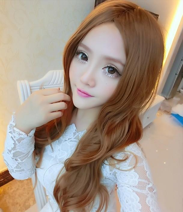 long curve wig td9 middle/rambut palsu/ ready stock