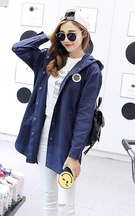 Long Hoodie Blazer / Jacket -Blue/Pink/Cachi/Red/Yellow - B1668A