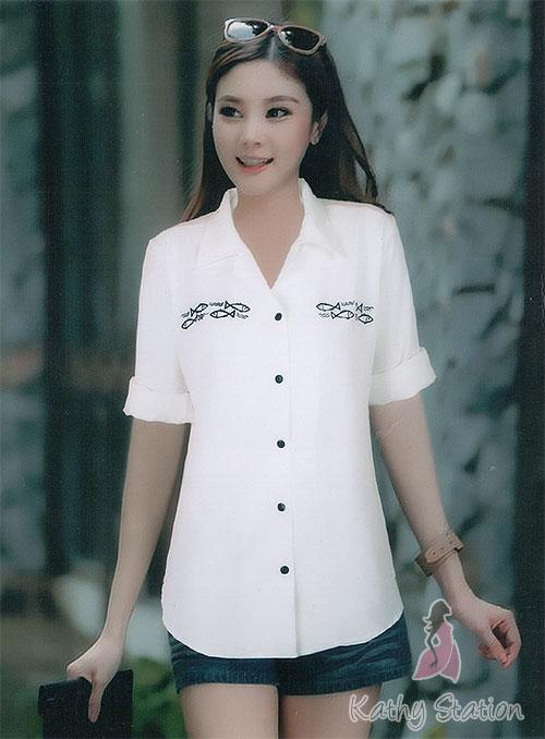Long Sleeves Collar Blouses (Fish) [10136A]