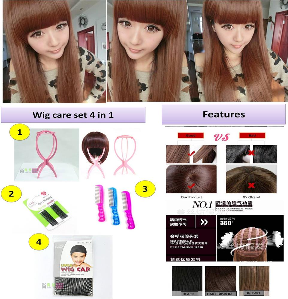 Long wig * ready stock a22a-rambut palsu