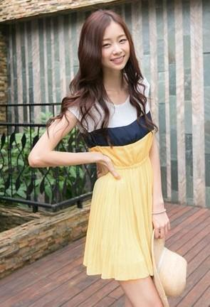 Lovely Chiffon Pleated Dress (Yellow)