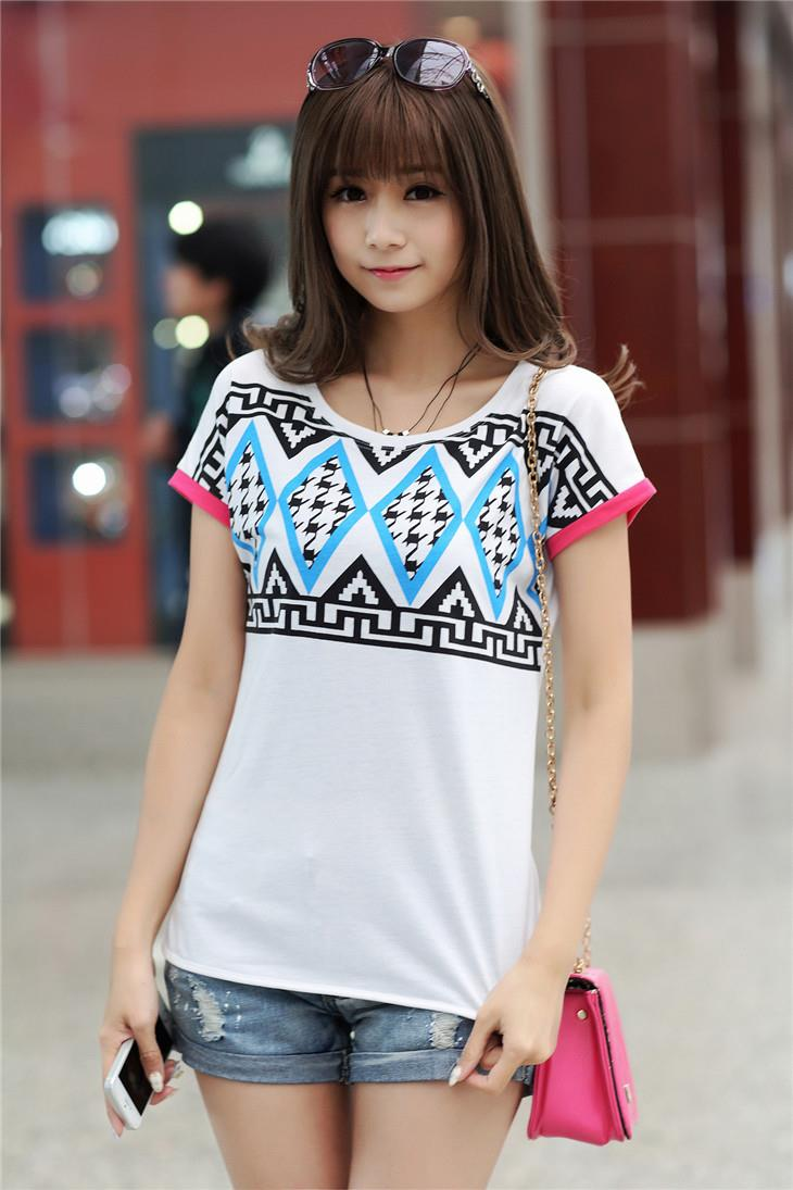 Lovely Houndstooth Printing Blouse (White)