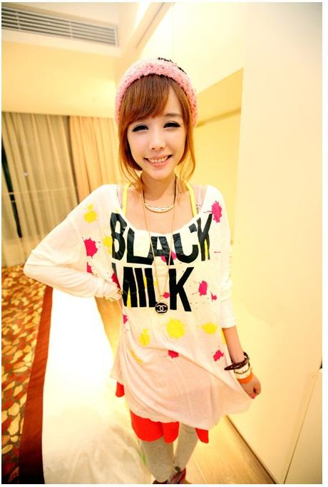 Lovely Ink-painting Long-sleeve Long Blouse (White)