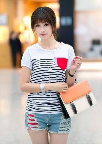 Lovely Pocket Design Stripe Blouse (White)