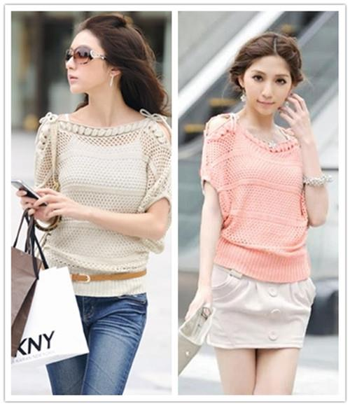 Lovely Show-Shoulder Loose Hollow Knit Blouse