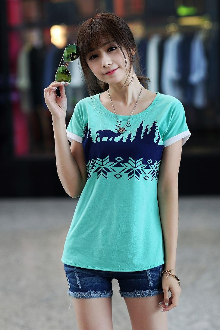 Lovely Snowflake Printing Blouse (Green)