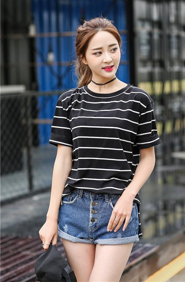 Lovely Wide Stripe Loose Blouse (Black White)