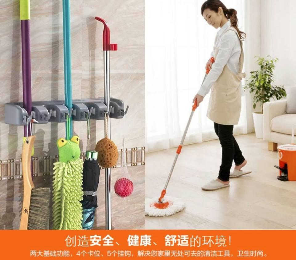 Magic Wall Mounted Mop & Broom Holder (5 Hanger 6 Hooks)