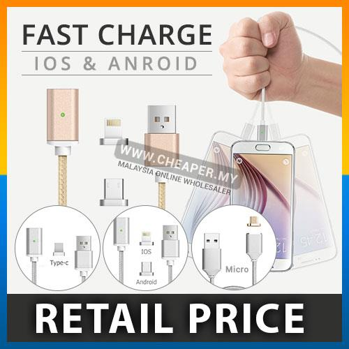 Magnet Charger Cable 1M iPhone Lightning Android Micro USB 2in1 Type C