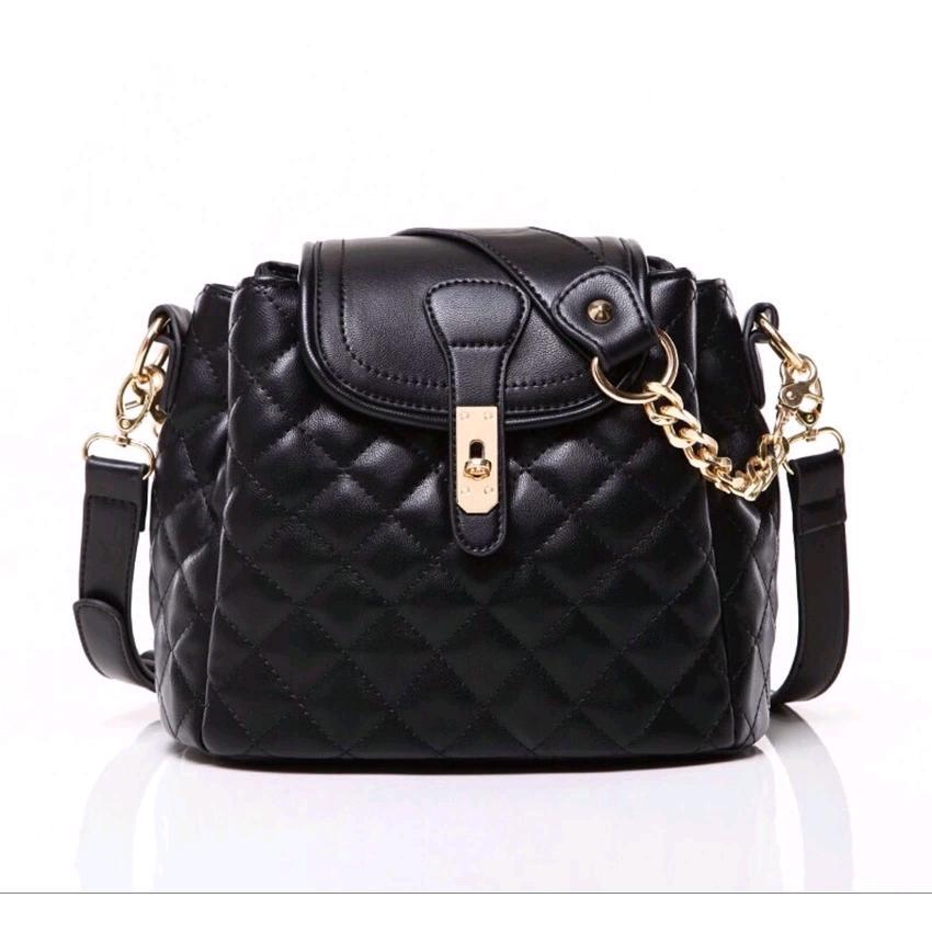 Mango Quilted Bucket Shoulder/Sling Handbag (Black)