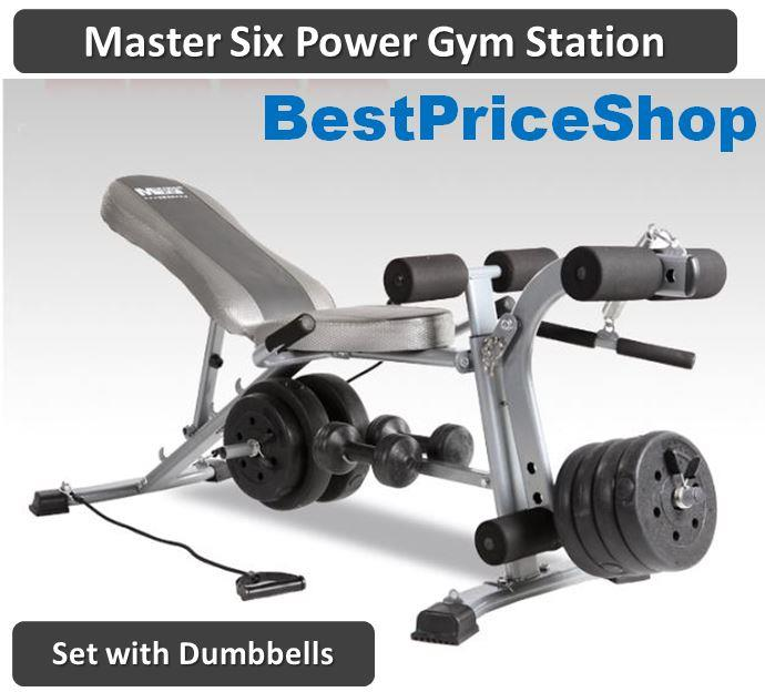Master Six Power Gym Station Fitness Dumbbell Sit Up Bench 6 Packs