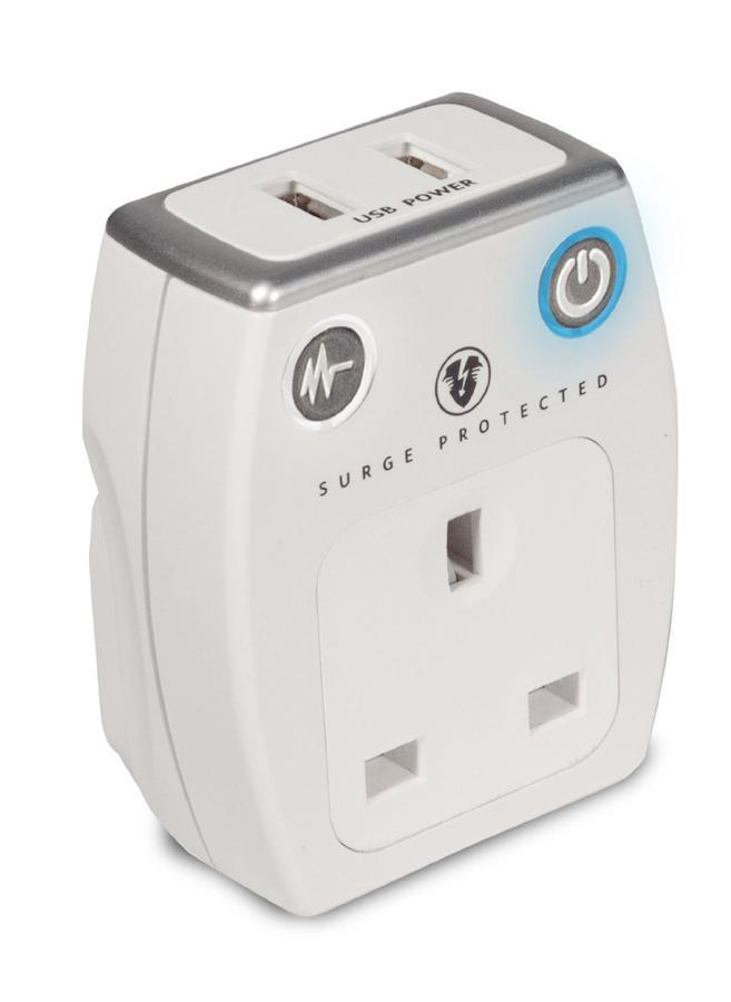 Masterplug SRGAUSBPW-MP Surge Protected Socket Adapter with 2 x USB