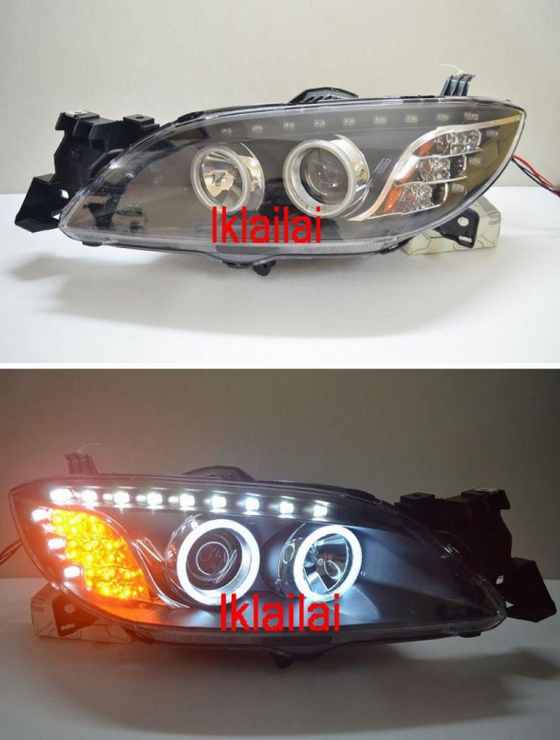 Mazda 3 '03-08 Projector Head Lamp + CCFL Ring+LED Eye Brown