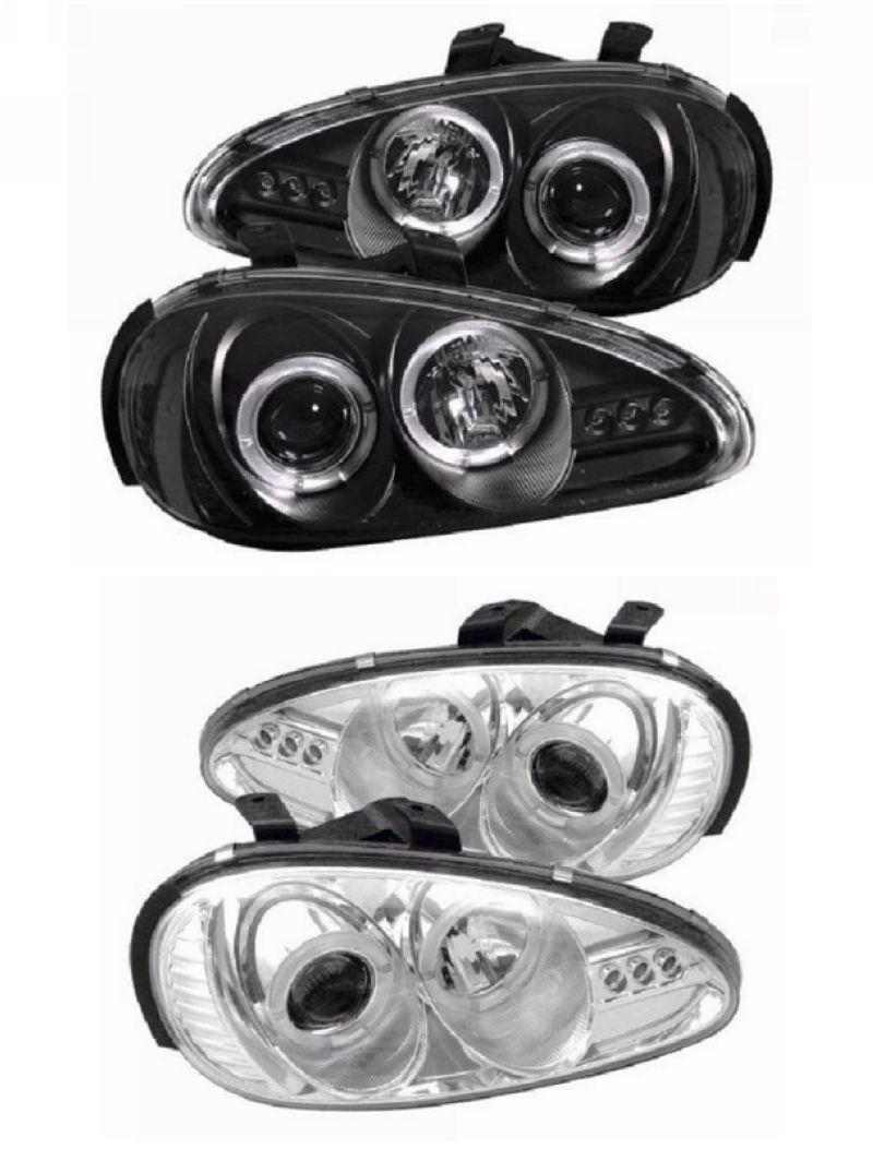 MAZDA MX-3 92-96 LED Ring Projector Head Lamp + 3-LED [Black/Chrome]