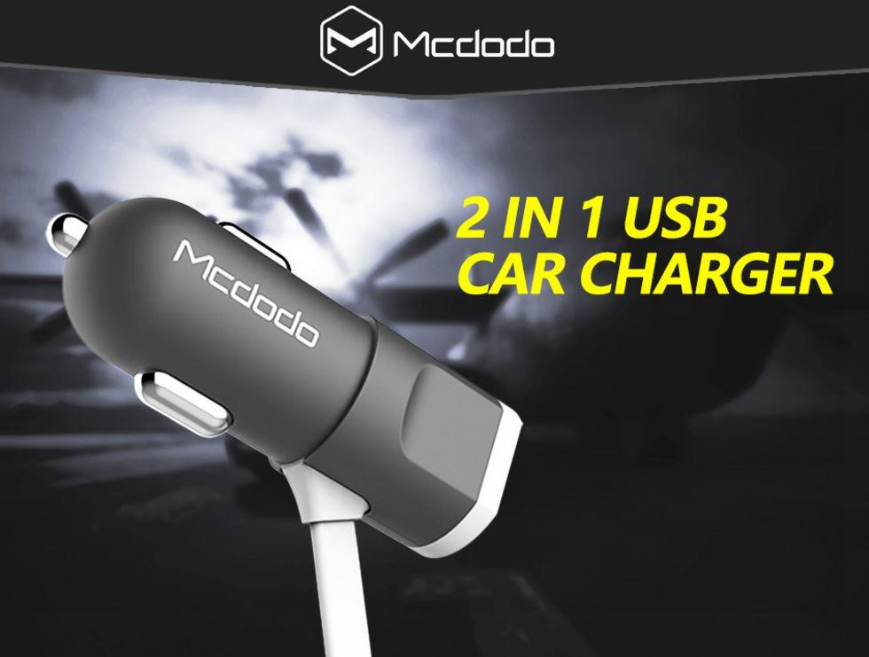Mcdodo 2 in 1 Lightning & Micro USB Cable 2.1A Car Charger