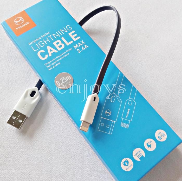 MCDODO 25CM Power Bank Short Charging Cable iPhone 7 6 6S Plus 5S 5 ~B