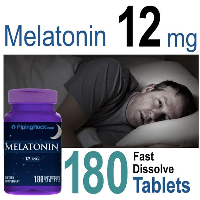 Melatonin 12mg, Maximum Strength, Fast Dissolve 180 Tablets (USA)