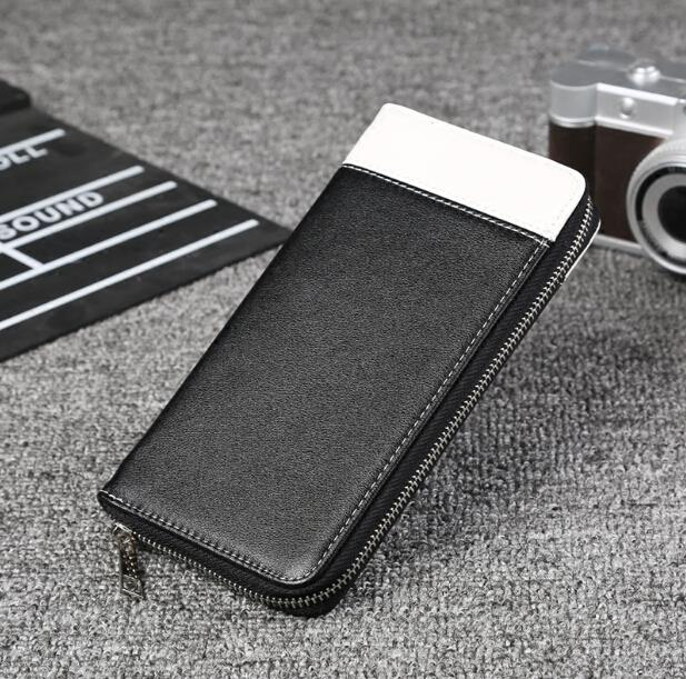 Men multi functional business long zipper wallet
