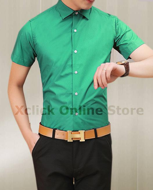 Men's Slim shirt - Korean version of Slim short-sleeved shirt- green