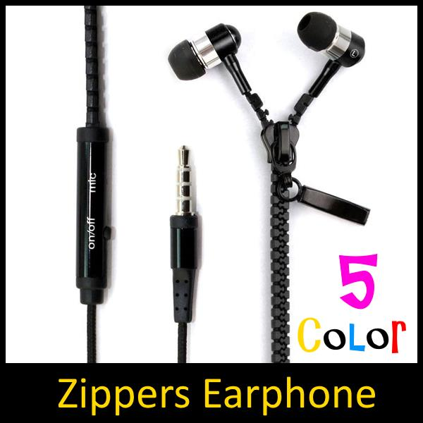 Metal Zippers In-Ear Wired Earphone With Hand Free