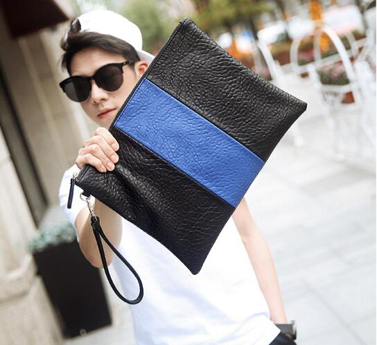 Metrosexual leisure soft leather envelope clutch bag