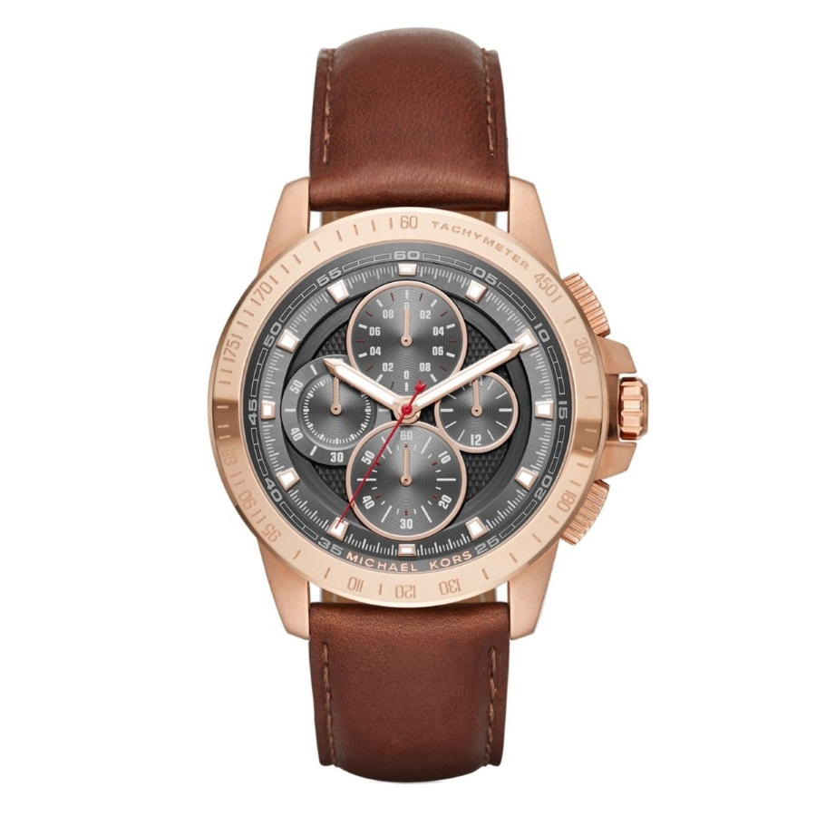 Michael Kors MK8519 Men's Ryker Rose Gold Plated Leather Watch