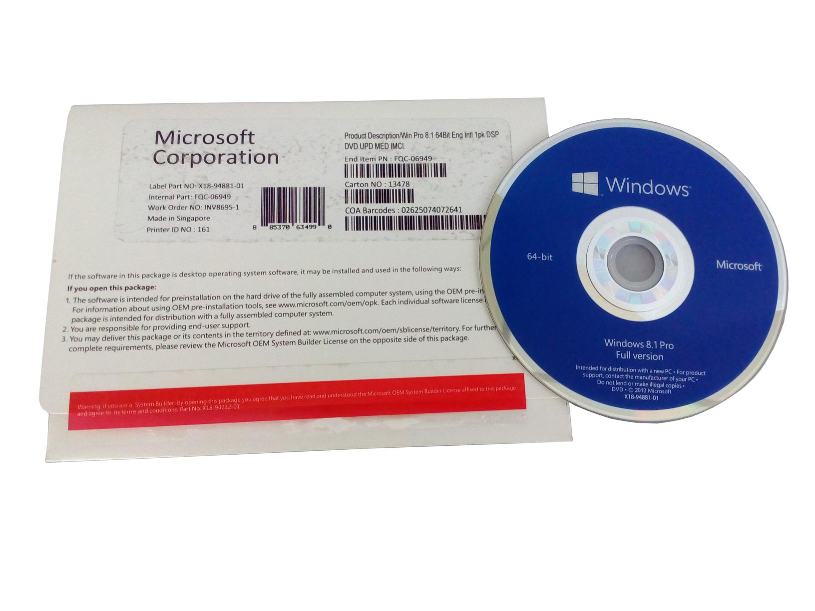 Microsoft Windows 8.1 Professional OEM pack (WITH CD & COA STICKER)