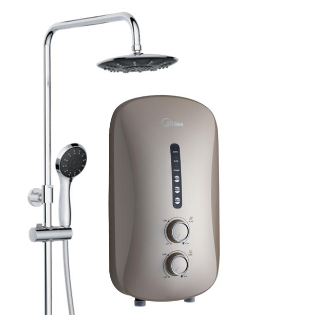 Midea MWH-38P3-RS Rainshower Water Heater with DC Pump (Gold/Black)