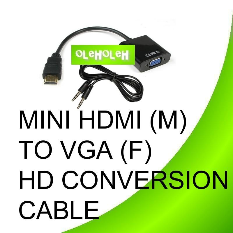 MINI HDMI (M) To VGA (F) HD Conversion Cable with VGA+Audio Output