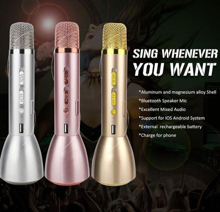 MINI KARAOKE PLAYER K088 K098 WIRELESS BLUETOOTH MICROPHONES SPEAKER