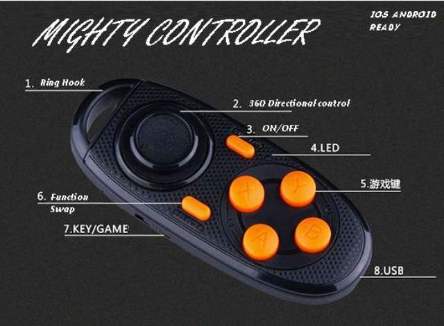 Mini Mighty Bluetooth Controller IOS Android TV Iphone 3d VR Glasses