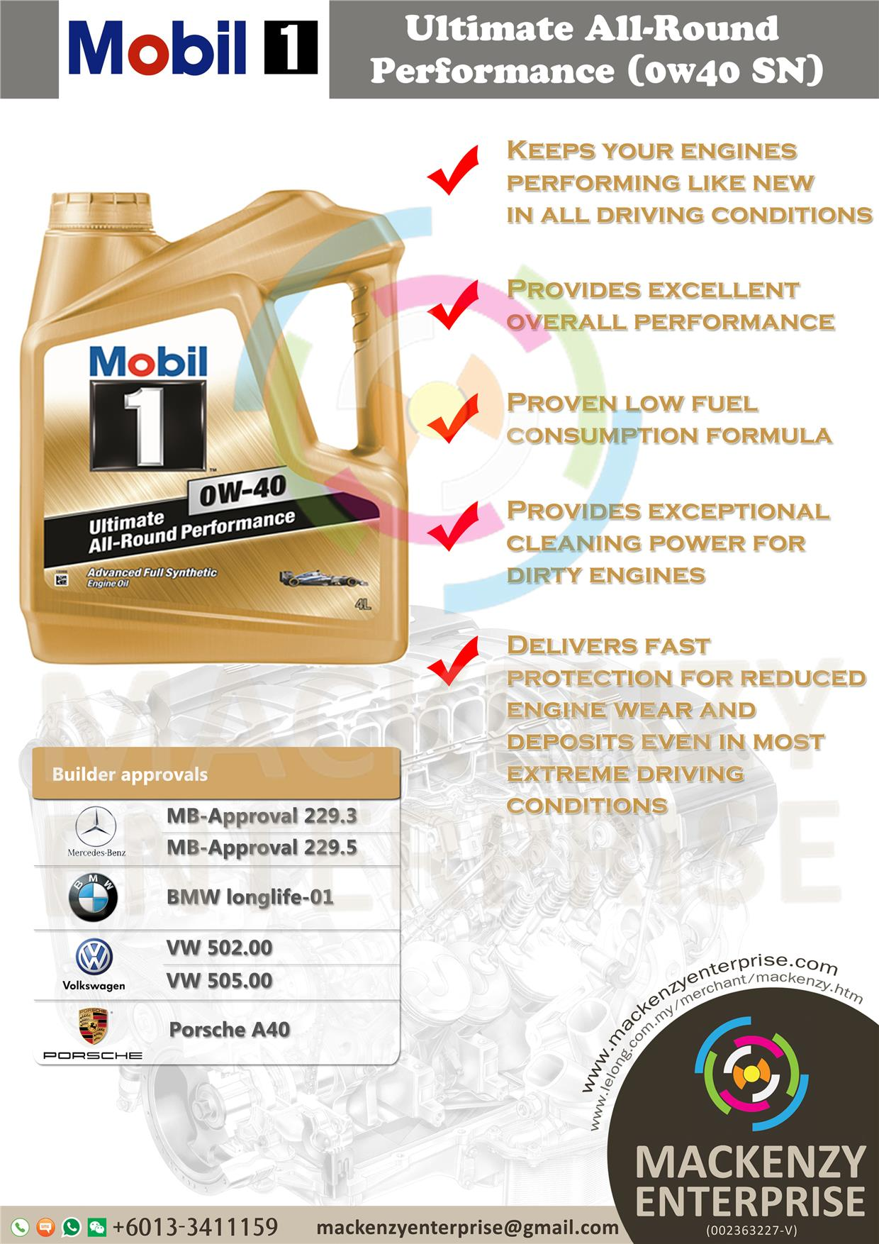 MOBIL1 0W40 Ultimate All-Round Performance FS Engine Oil(4Liter)