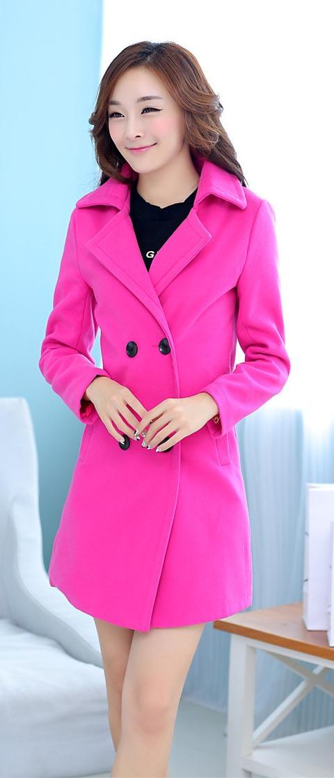 Modern Double Breasted Wool Blend Coat ~ Rose Red/ Blue
