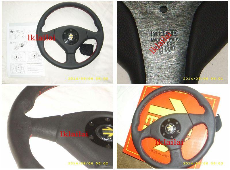 MOMO Lancer EVO3 Leather Steering Wheel With Red Line Made In Italy