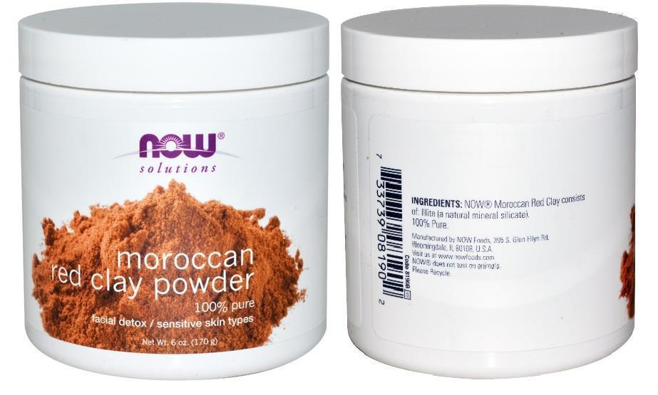 Moroccan Red Clay, Facial Detox Powder 170 gm Made in USA 100% Pure