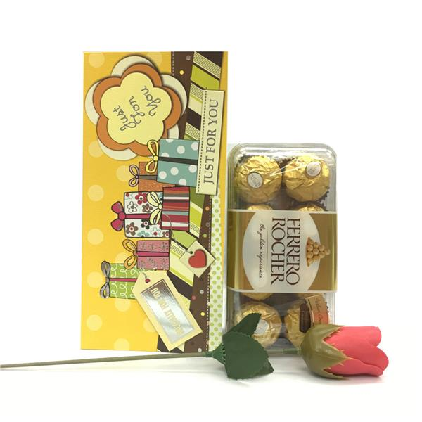 Mother's Day Present Ferrero Rocher Chocolate 16pc + Rose