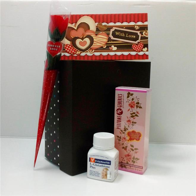 Mothers Day Gift Set with Vita L-Glutathione, Perfume & Rose