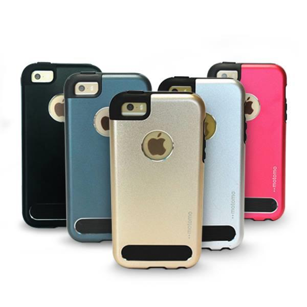 Motomo TPU Metal Back Mobile Phone Case Cover for iPhone 5 5S Casing