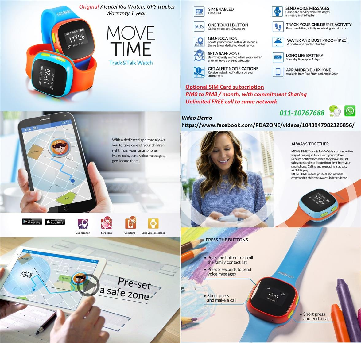 Move Time Alcatel Kids Watch (Blue) Talk, GPS Tracker, warranty 1 year