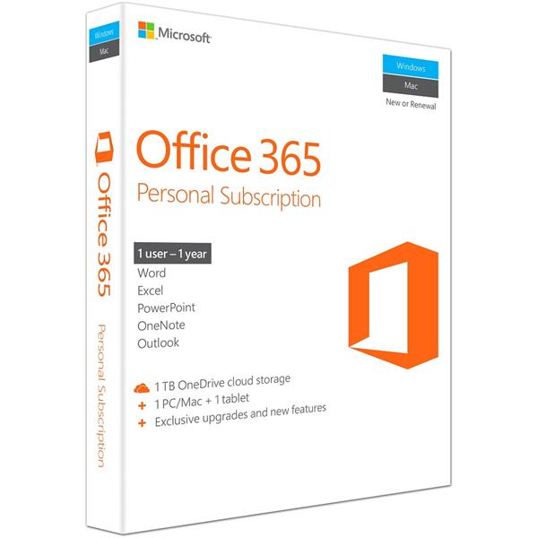MS Office 365 Personal, 1 Year Subscription Retail Box With COA