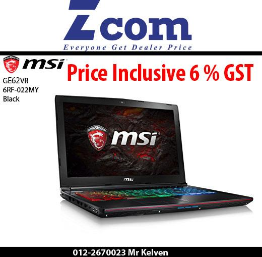 MSI GE62VR 6RF-022MY(Apache Pro)(Black)(Hecate Backpack)(Ori Msia)