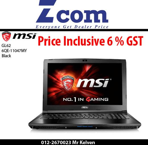 MSI GL62 6QE-1047MY(Black)(Gaming Bag)(Ori Msia)