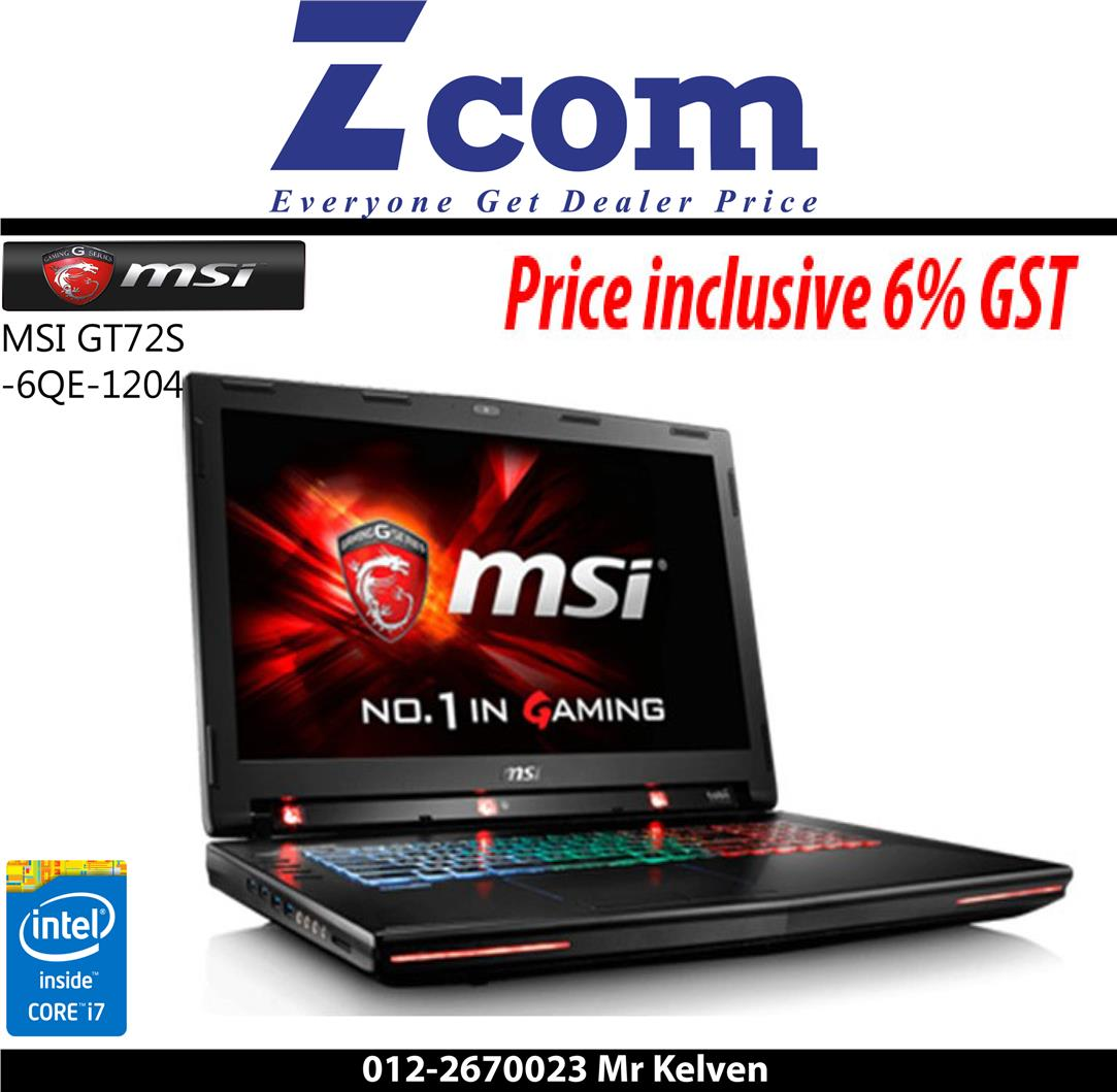 MSI GT72S 6QE-1204 (Ori Msia Set,Free Gaming Bag)