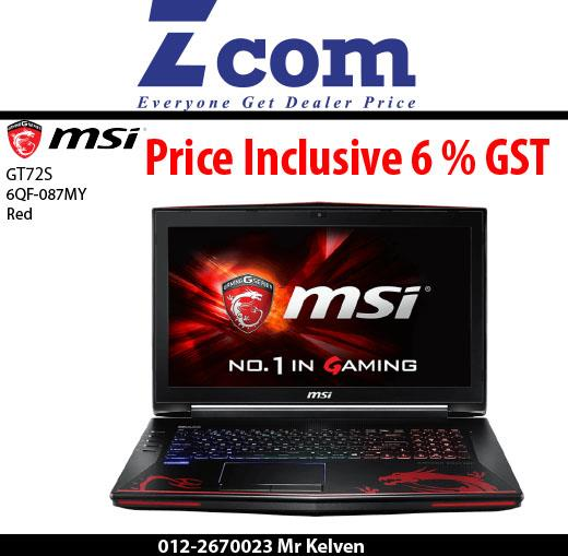MSI GT72S 6QF-087MY(Red)(Mouse and Hardshell Bag)(Ori Msia)