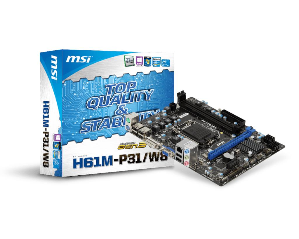 MSI H61M-P31/W8 Motherboard for Intel H61 Chipset (Socket 1155)