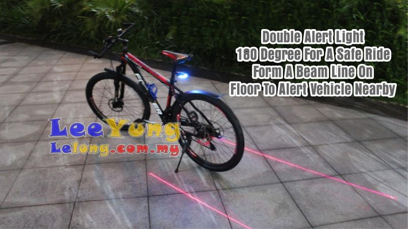 MTB New Bicycle Laser Safety Guide Tail Light w Blue Bright LED Light